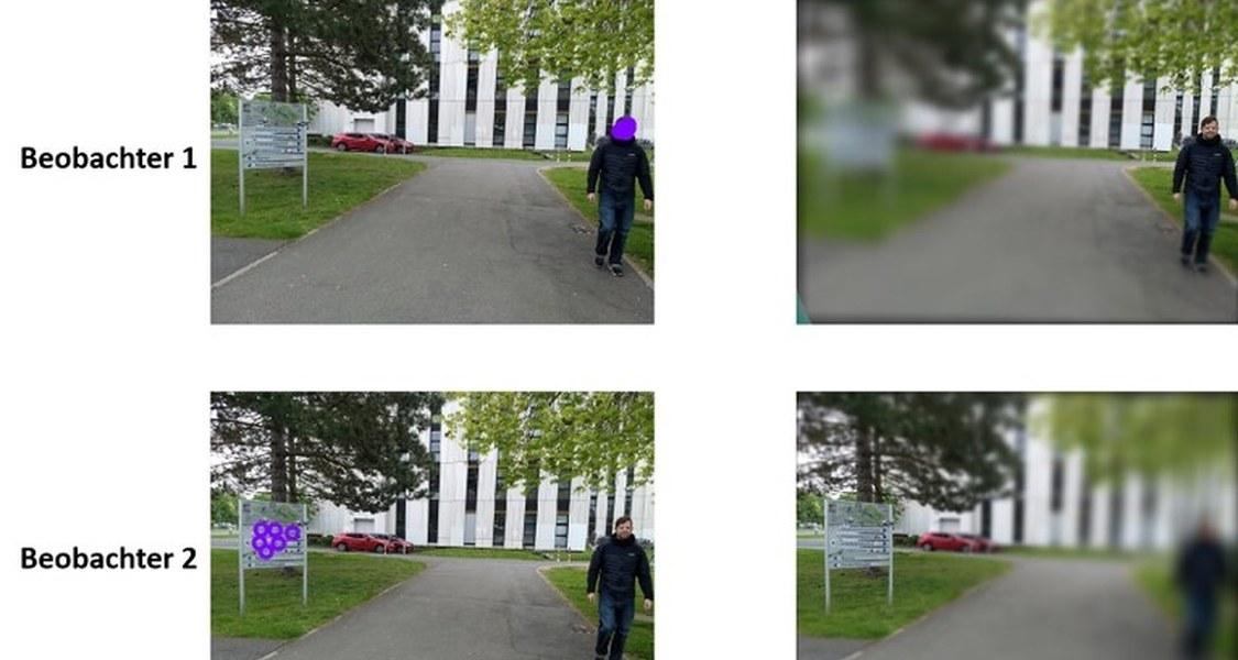 Ein und dasselbe Bild, aber eine ganz andere Wahrnehmung: Während sich die Blickbewegungen von Beobachter 1 auf das Gesicht der Person richten, fixiert Beobachter 2 die Infotafel und blendet die abgebildete Person fast komplett aus.