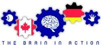 Fünf Zahnräder: Auge, kanadische Fahne, Gehirn, deutsche Fahne, Hand