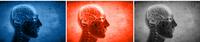 Stilisierter Kopf mit Gehirn auf blauem, rotem und schwarzem Hintergrund